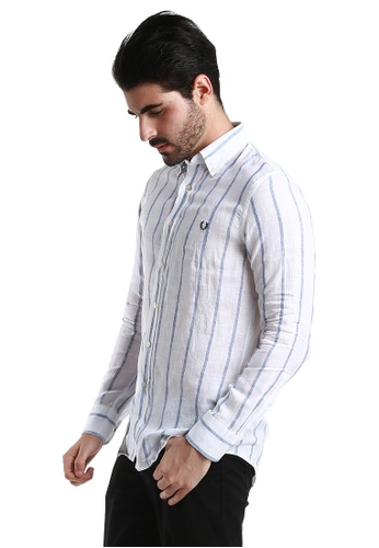 Fred Perry Green Label white and blue Bold Striped White Casual Long Sleeve Shirt FR595AA71WWMMY_1