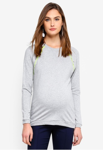 Seraphine grey Cindy Maternity And Nursing Sweatshirt 20F97AABA6D1E4GS_1