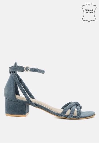 RAG & CO blue Braided Suede Block Heel Sandal 0BF5FSH18165D0GS_1