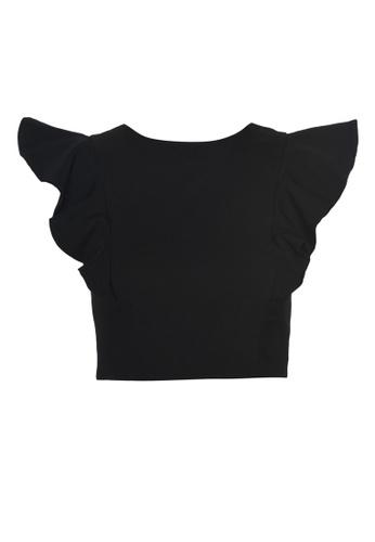 Trendyol black Ruffle Sleeve Cropped Top F3F52AA5C3E6AEGS_1