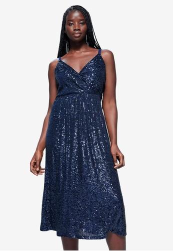 Violeta by MANGO blue Plus Size Sequin Wrap Dress 2518FAA4ABB084GS_1
