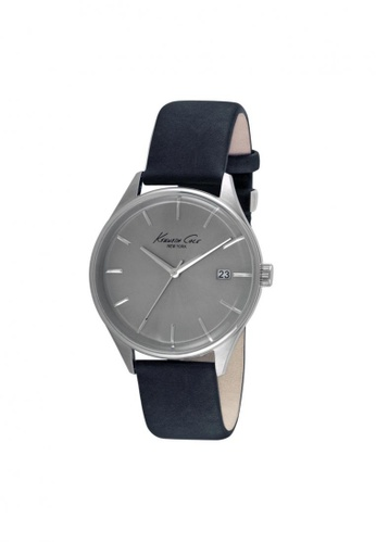 Kenneth Cole blue Kenneth Cole Classic Silver/Navy Leather Watch KE854AC01NPUSG_1