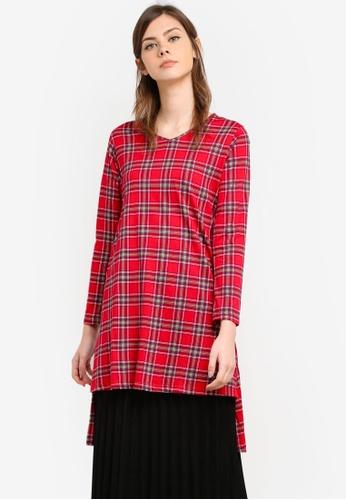 Aqeela Muslimah Wear red Side Slit Fishtail Top AQ371AA0S4WCMY_1