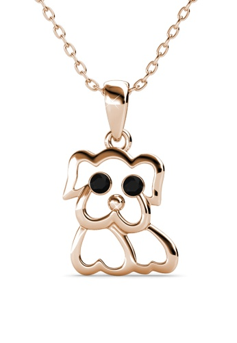 Her Jewellery gold Pug Pendant (Rose Gold) - Made with premium grade crystals from Austria DF3EDACE8AA44DGS_1