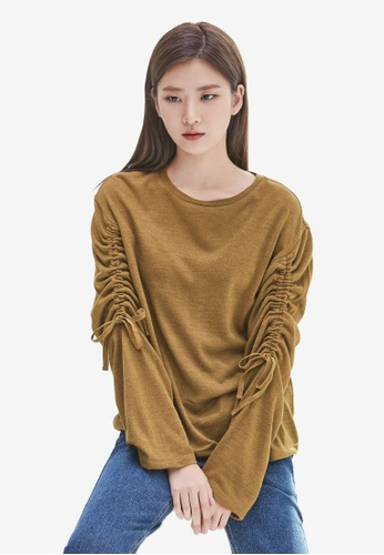 NAIN brown Ruched Sleeve Top 747CFAA7CD33F9GS_1