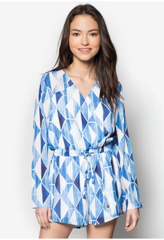 Printed And Solid Piecing Wrap Romper