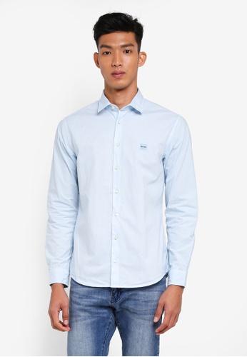 BOSS 藍色 休閒長袖襯衫 CA942AA123FB83GS_1