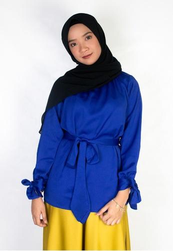 Zaryluq blue Ribbon Sleeve Top in Poseidon Blue 62950AA2E15E40GS_1