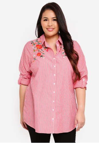 Dorothy Perkins red Plus Size Red Striped Embroidered Shirt 80446AAF89C9C1GS_1
