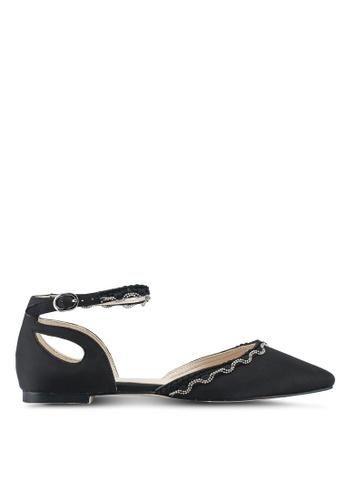 Velvet 黑色 尖頭繞踝平底鞋 80214SHC5FFABCGS_1