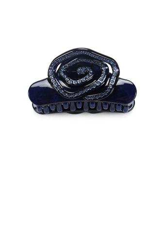 Glamorousky blue Fashion and Elegant Rose Dark Blue Hair Claw with Cubic Zirconia 12DD9AC8F0CA62GS_1