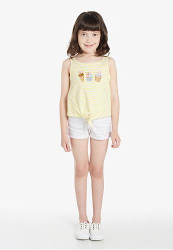 Gen Woo yellow Ice Cream Striped Vest By Gen Woo 95B29KAE74A412GS_1
