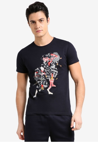 UniqTee navy Samurai Culture Graphic Tee 8BC64AAC89533EGS_1