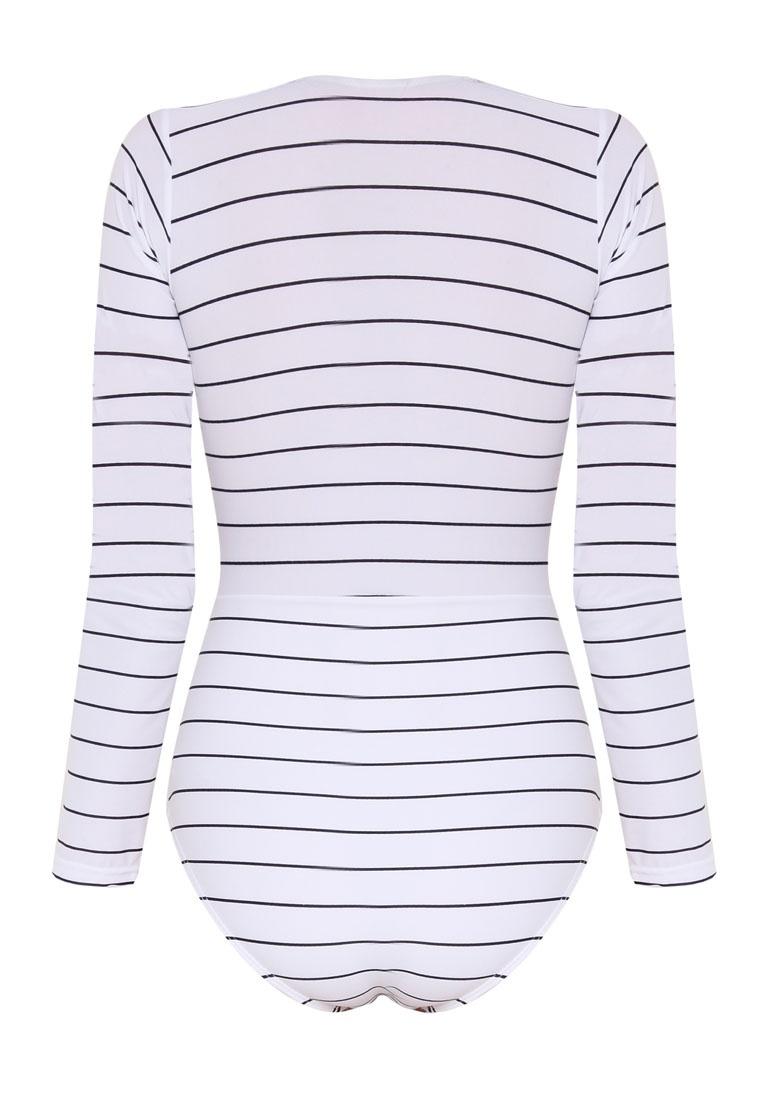 Sleeve PROPER Plunge N' Swimsuit Delevingne PINK White Long 1xSZwn5X