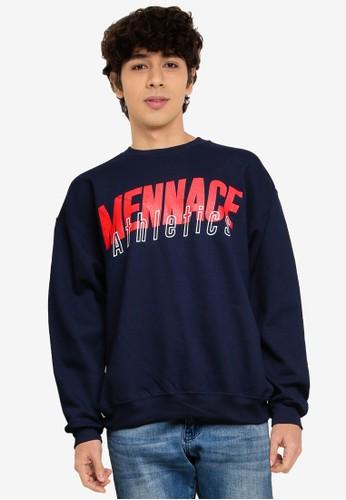 Mennace navy Athletics Sweatshirt D9347AA56D38B8GS_1