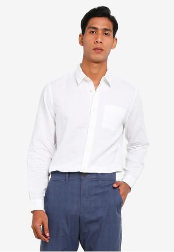 Gap white Long Sleeve Linen Cotton Shirt 3721EAA047A174GS_1