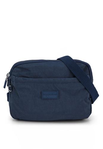 Bagstationz navy Crinkled Nylon Dual Zip Sling Bag 28C9CAC8471E0CGS_1