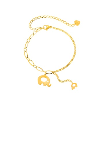 Glamorousky silver Simple and Cute Plated Gold Elephant 316L Stainless Steel Bracelet E61F7AC817E3D9GS_1
