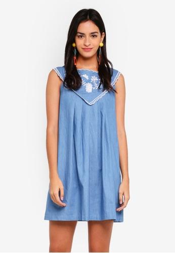 ZALORA blue Embroidered Yoke Dress 615C7AA4592C33GS_1