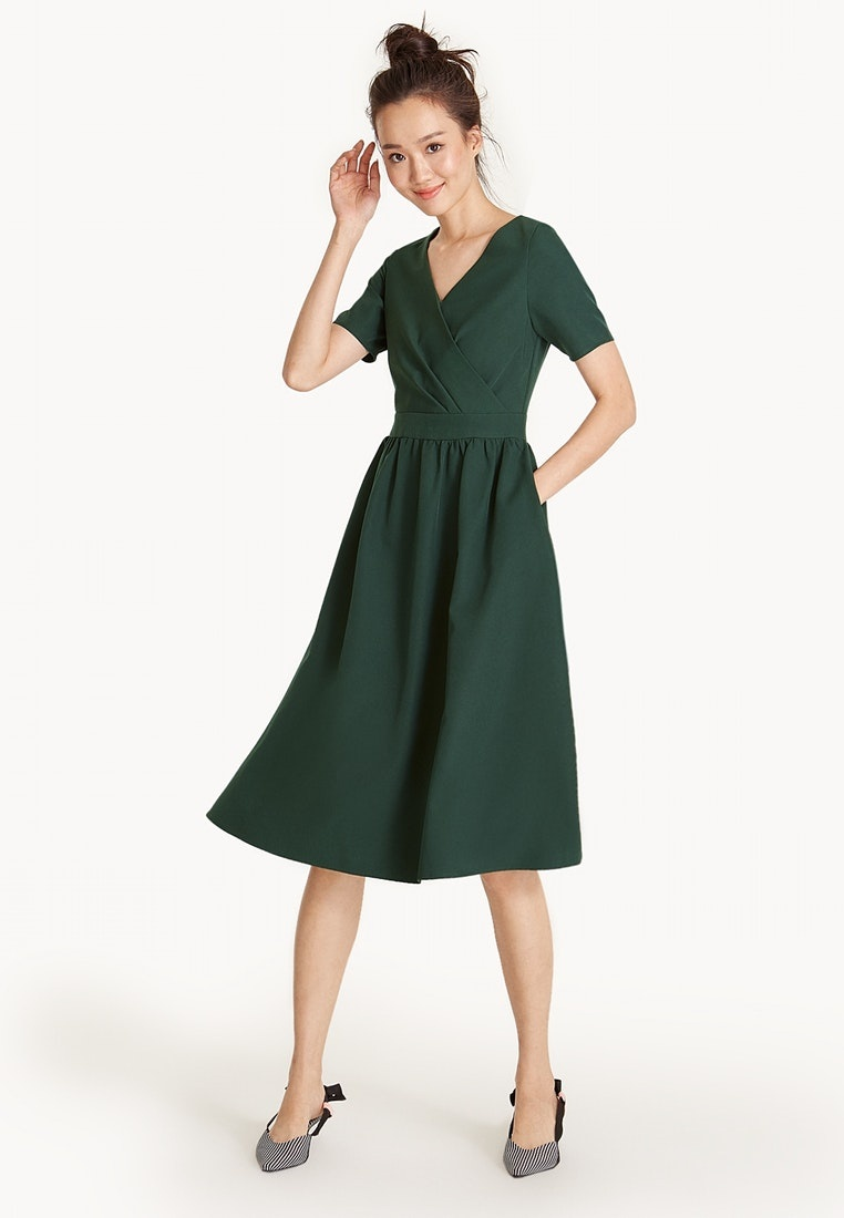 Midi A Green Line Surplice Dress Frill Pomelo x41xwP