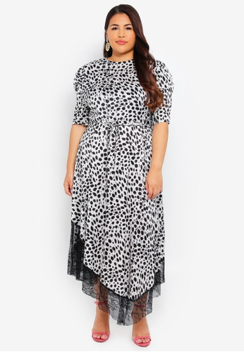 LOST INK PLUS white Plus Size Spot Dress With Lace Inserts 08A74AA50D7507GS_1
