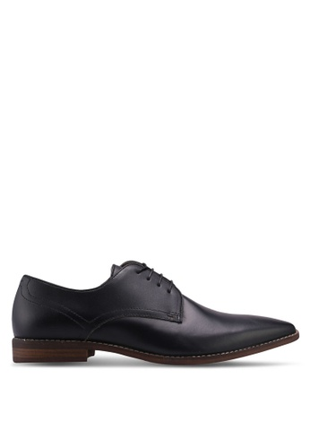 Burton Menswear London black Black Leather Oxford Shoes With Perf Detail F45A2SH55AD307GS_1