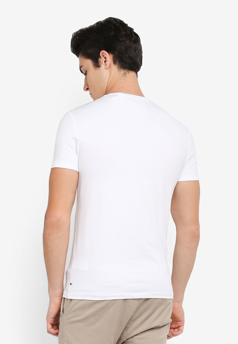 Crew Klein White T Fit Taiki Calvin Short Klein Bright Slim Calvin Jeans Shirt Neck Sleeve 7E1SFxwF