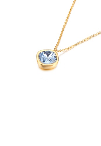 Glamorousky blue Simple and Fashion Plated Gold Geometric Square Light Blue Cubic Zirconia 316L Stainless Steel Pendant with Necklace 53407ACACA7494GS_1