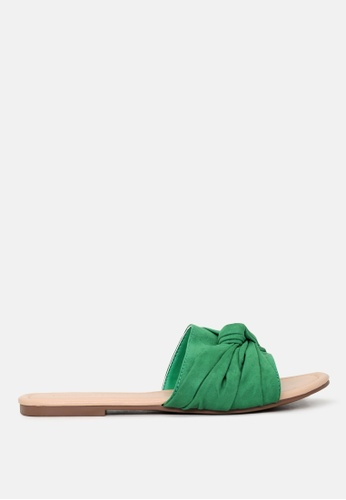 London Rag green Knotted Flat Sliders DDD78SHAE4DC12GS_1