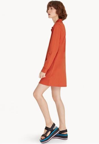 Pomelo orange Mini Long Sleeve Polo Shirt Dress - Orange 0EEAFAA388A5F1GS_1