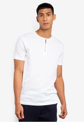 Brave Soul white Zip Detail T-Shirt 602C8AA8BE3392GS_1