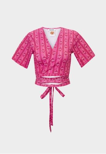 Pomelo pink Lollipop Print Tie Waist Top -  Hot Pink 985F9AA48E0BF1GS_1