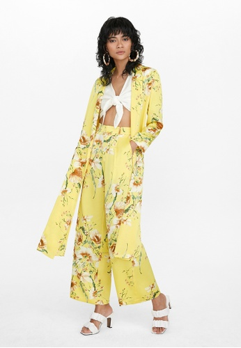 Pomelo yellow Floral Side Slit Robe - Yellow 16F59AAC90F7F1GS_1