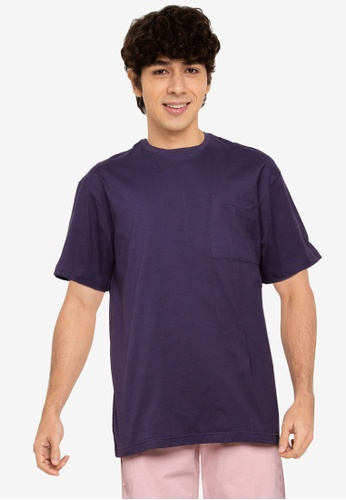 UniqTee navy Crew Neck Tee with Side Pocket B6BB0AA71619BDGS_1