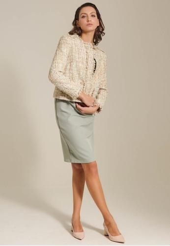 Dressing Paula beige Cropped Boucle Tweed Jacket F4594AA7E2868EGS_1