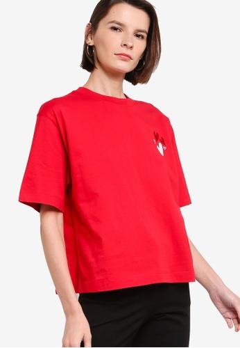ck Calvin Klein red LIGHTWEIGHT ORGANIC COTTON TOP WITH LOGO D257DAAD7AA19CGS_1