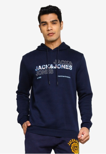 Jack & Jones navy Art Sweat Hood Sweatshirt 83DD2AA7FB2F5CGS_1