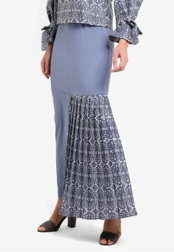 Tsyahmi for ZALORA blue Kumbu Side Pleat Pencil Skirt TS528AA23ZBGMY_1