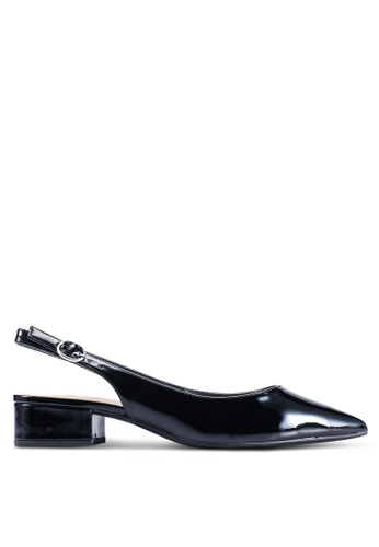 Dorothy Perkins 黑色 黑色 PU 'Daphne' Block 後繞帶高跟鞋 5E115SH12A032DGS_1