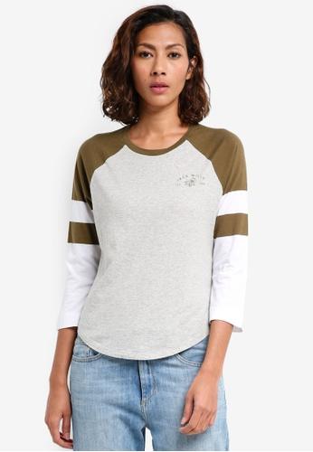 Jack Wills green Brombie Raglan T-shirt 53C34AAB962EBCGS_1