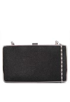 6bb22aa0b0 Cava Bags black Glittery Slim Metal Frame Clutch 328DAACEBFD8C5GS 1