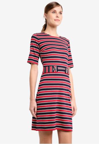 WAREHOUSE blue and navy Cavalry Stripe Ponte Dress WA653AA0SYJIMY_1