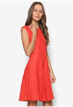 Petite Orange Lace Fit & Flare Dress