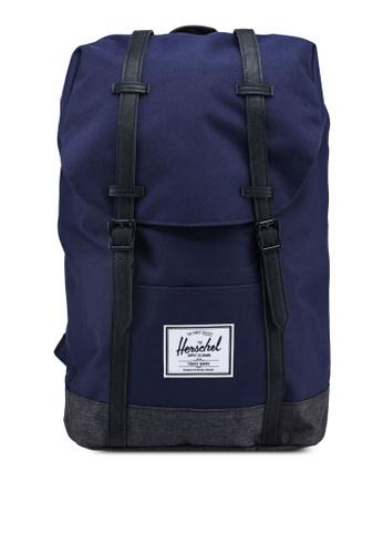 Herschel black and navy Retreat Backpack F581FAC3934B1EGS_1