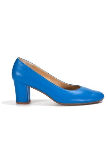 Shu Talk 藍色 經典圓頭舒適粗跟鞋 AB17BSH204E4D9GS_1