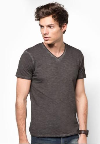 水esprit 品質洗V領素色TEE, 服飾, T恤