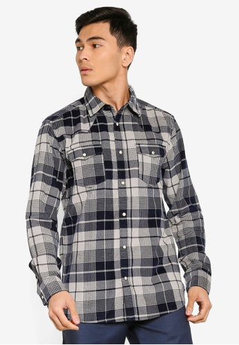 Only & Sons blue Western Check Shirt 6090DAA2F836DDGS_1
