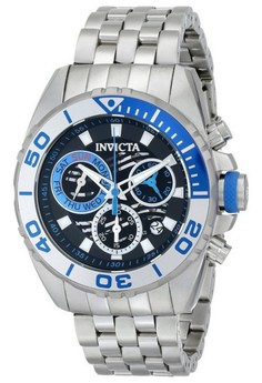 Pro Diver Men 46mm Case Silver Stainless Steel Strap Watch 14724