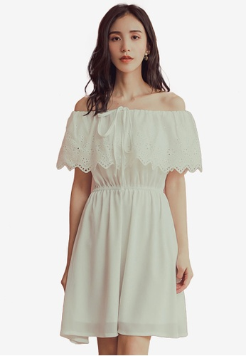 Yoco white Off Shoulder Frill Neckline Lace Detail Dress A9BC8AA1A1EF02GS_1