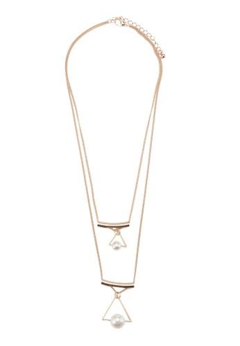 雙層三角珍珠項鍊, 飾品配件, esprit hk store絕美洋裝